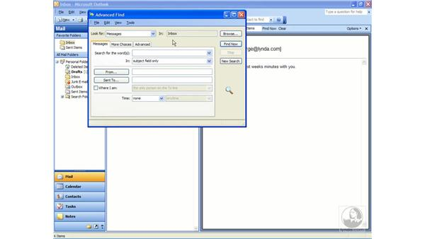 finding messages: Outlook 2003 Essential Training