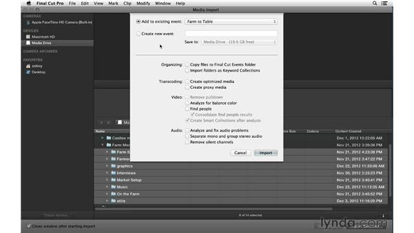 Creating and organizing events from scratch: Final Cut Pro X 10.0.9 Essential Training