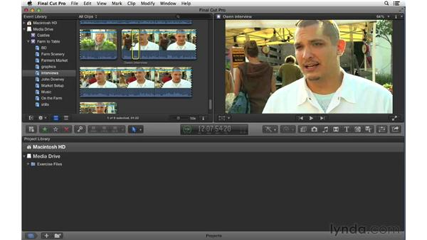 Organizing footage with keywords and ratings: Final Cut Pro X 10.0.9 Essential Training