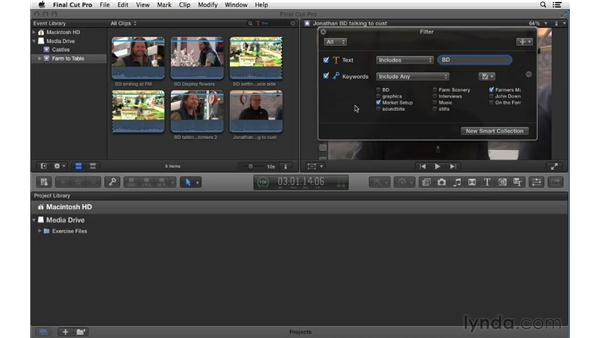 Performing searches and creating Smart Collections: Final Cut Pro X 10.0.9 Essential Training