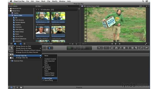 Displaying event data: Final Cut Pro X 10.0.9 Essential Training