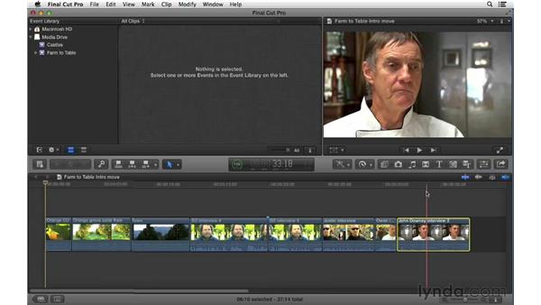 Moving clips within the primary storyline: Swapping shots and creating gaps: Final Cut Pro X 10.0.9 Essential Training