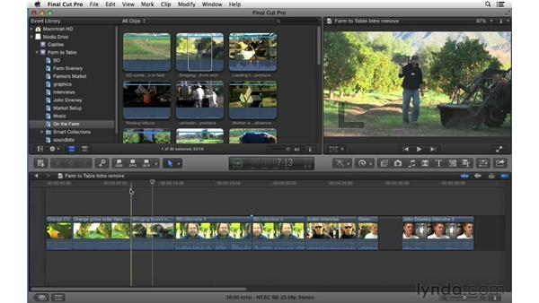 Removing material from the primary storyline: Final Cut Pro X 10.0.9 Essential Training