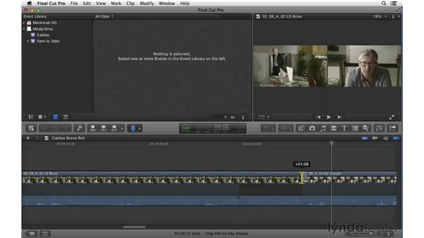 Manipulating transitions: Using the Roll tool: Final Cut Pro X 10.0.9 Essential Training