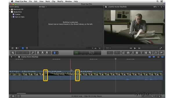 Changing clip content and position: Performing Slip and Slide edits: Final Cut Pro X 10.0.9 Essential Training