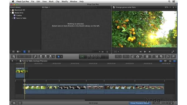 Using the Precision Editor for fine trimming control: Final Cut Pro X 10.0.9 Essential Training