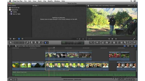 Working with secondary storylines: Final Cut Pro X 10.0.9 Essential Training
