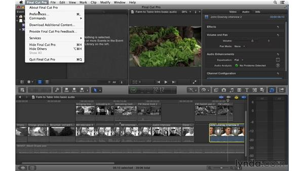 Adjusting the audio level and channel configuration via the Inspector: Final Cut Pro X 10.0.9 Essential Training