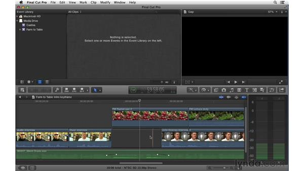 Keyframing audio in the timeline: Final Cut Pro X 10.0.9 Essential Training