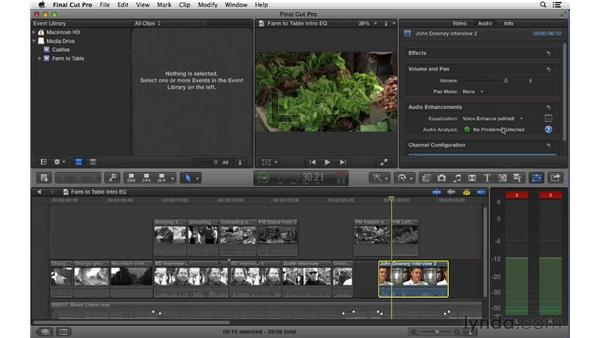 Adjusting audio EQ: Final Cut Pro X 10.0.9 Essential Training
