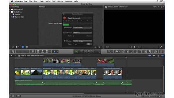 Recording audio: Final Cut Pro X 10.0.9 Essential Training