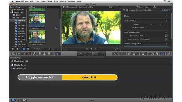 Syncing audio from multiple sources: Final Cut Pro X 10.0.9 Essential Training