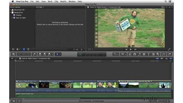 Nesting and breaking apart clips: Final Cut Pro X 10.0.9 Essential Training