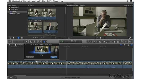 Auditioning clips to try multiple editing options: Final Cut Pro X 10.0.9 Essential Training