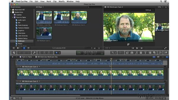 Syncing your multicam group clips: Final Cut Pro X 10.0.9 Essential Training