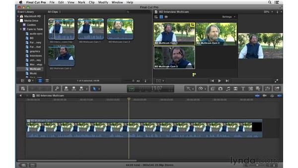 Performing a multicam edit: Final Cut Pro X 10.0.9 Essential Training