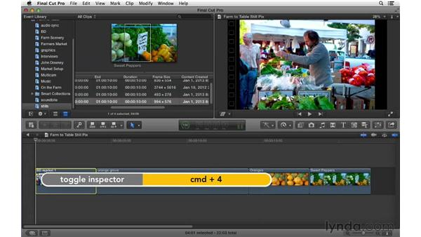 Using motion effects with still photos and graphics: Final Cut Pro X 10.0.9 Essential Training