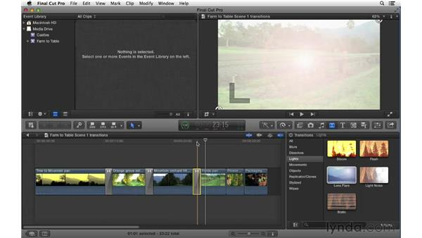 Adding and adjusting transition effects: Final Cut Pro X 10.0.9 Essential Training