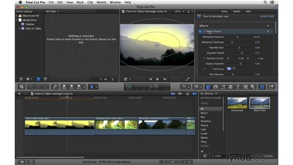 Adding and adjusting video effects: Final Cut Pro X 10.0.9 Essential Training