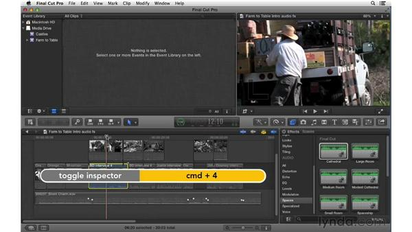 Adding and adjusting audio effects: Final Cut Pro X 10.0.9 Essential Training