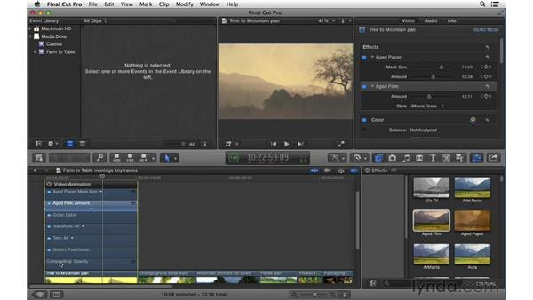 Keyframing video and audio effects over time: Final Cut Pro X 10.0.9 Essential Training