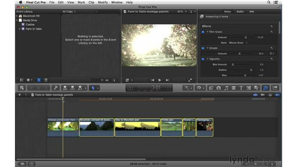 Copying and pasting effect properties: Final Cut Pro X 10.0.9 Essential Training