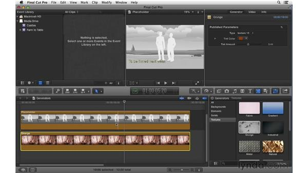 Working with generator effects: Final Cut Pro X 10.0.9 Essential Training