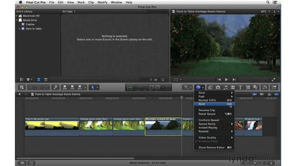 Creating freeze frames: Final Cut Pro X 10.0.9 Essential Training