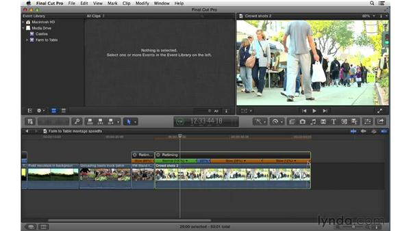 Using speed effects to retime clips: Final Cut Pro X 10.0.9 Essential Training
