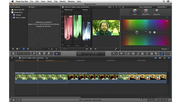 Following a proper color correction workflow: Final Cut Pro X 10.0.9 Essential Training