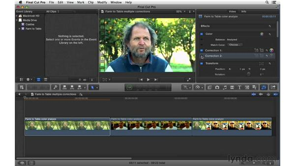 Apply multiple color corrections to clips: Final Cut Pro X 10.0.9 Essential Training