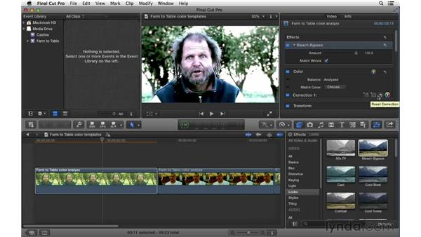 Using color correction templates: Final Cut Pro X 10.0.9 Essential Training