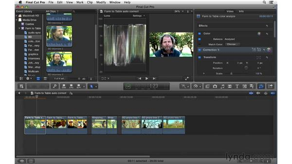 Using automatic color correction tools: Final Cut Pro X 10.0.9 Essential Training