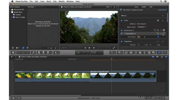 Performing secondary color correction with color masks: Final Cut Pro X 10.0.9 Essential Training
