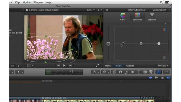 Performing color correction adjustments using shape masks: Final Cut Pro X 10.0.9 Essential Training
