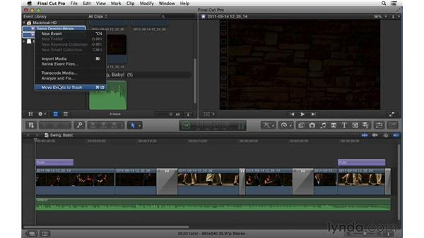 Importing iMovie projects and events: Final Cut Pro X 10.0.9 Essential Training
