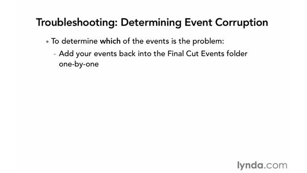 Troubleshooting data and settings corruption problems: Final Cut Pro X 10.0.9 Essential Training