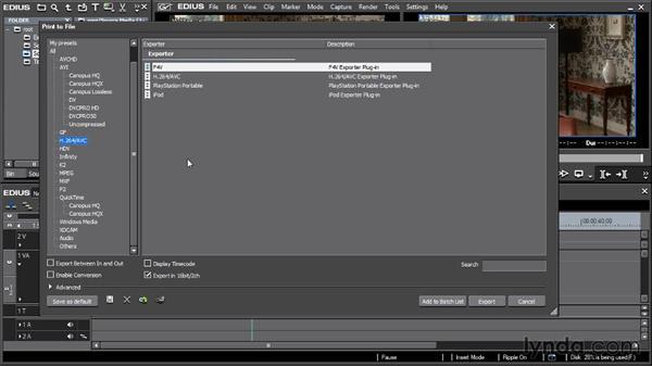 New export options: EDIUS 6.5 New Features Workshop