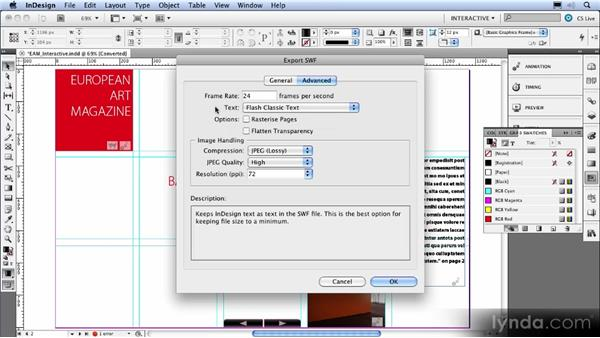 Improved export to Flash Player: InDesign CS5 New Features Overview