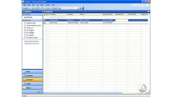 the contacts folder: Outlook 2003 Essential Training