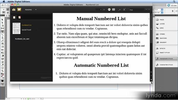 Exporting numbered lists: Creating Ebooks with InDesign CS4 or CS5