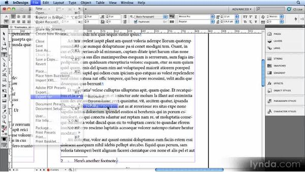 Exporting footnotes: Creating Ebooks with InDesign CS4 or CS5