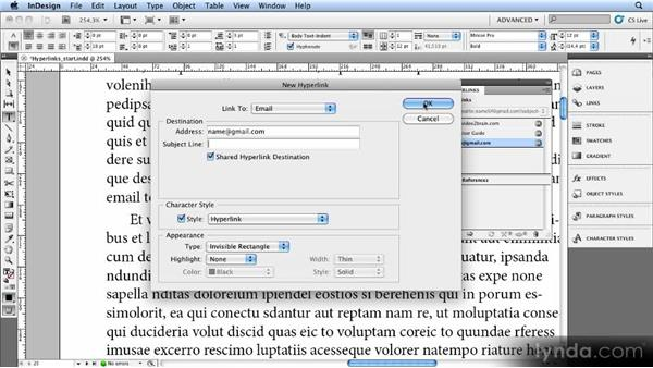 Exporting hyperlinks: Creating Ebooks with InDesign CS4 or CS5
