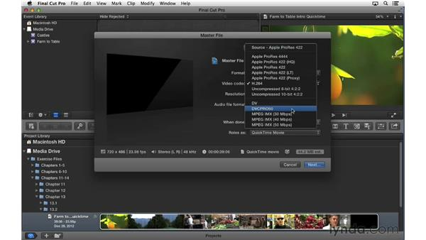 Exporting a hi-res QuickTime movie: Final Cut Pro X 10.0.9 Essential Training
