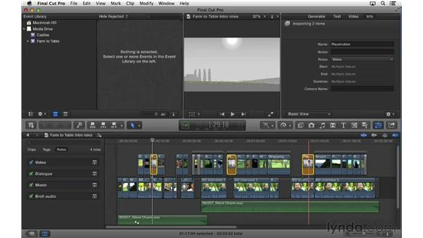 Exporting stems out of the timeline using roles: Final Cut Pro X 10.0.9 Essential Training
