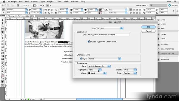 Creating hyperlinks in InDesign: Creating Photography Ebooks