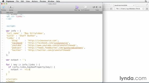 Looping through JavaScript objects: JavaScript and JSON
