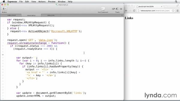 Parsing JSON data with AJAX