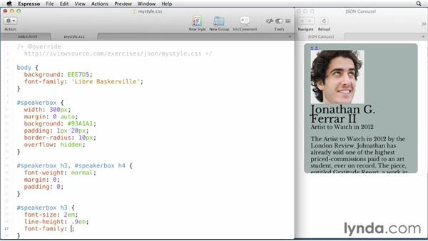 Styling our application: JavaScript and JSON