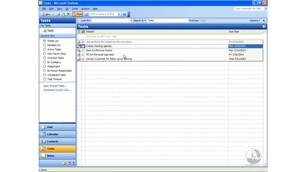 deleting tasks: Outlook 2003 Essential Training